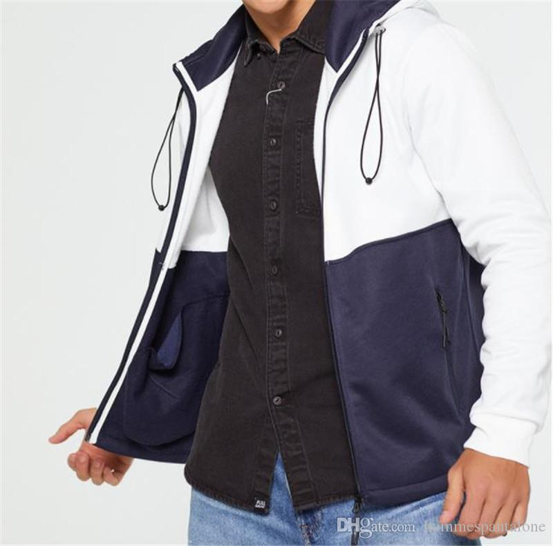 Hombres de diseno con paneles de las chaquetas con capucha de la cremallera cortavientos manera ocasional del otoño del resorte Manga larga Abrigos Ropa para Hombres
