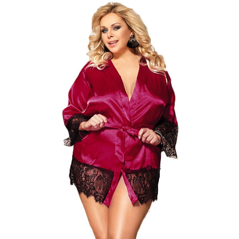 Kimono For Women Long Sleeve Satin Silk Robes Blue Black Red Plus Size Lace Robe Lingerie Solid Lace Trim Dressing Gown R80558