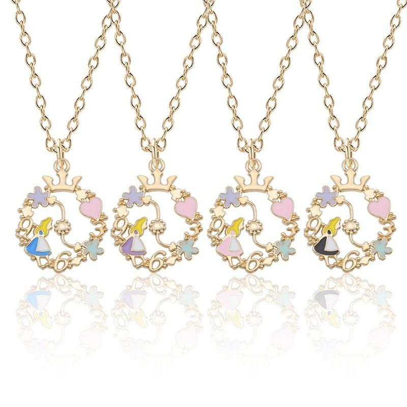 Wholesale Alice In Wonderland Necklace Women Jewelry Gold Chain Enamel Flower Wreath Heart Crown Alice Girl Necklaces Pendants Collares Diamond Pendants Single Diamond Pendant Necklace From Jewelryset 0 81 Dhgate Com