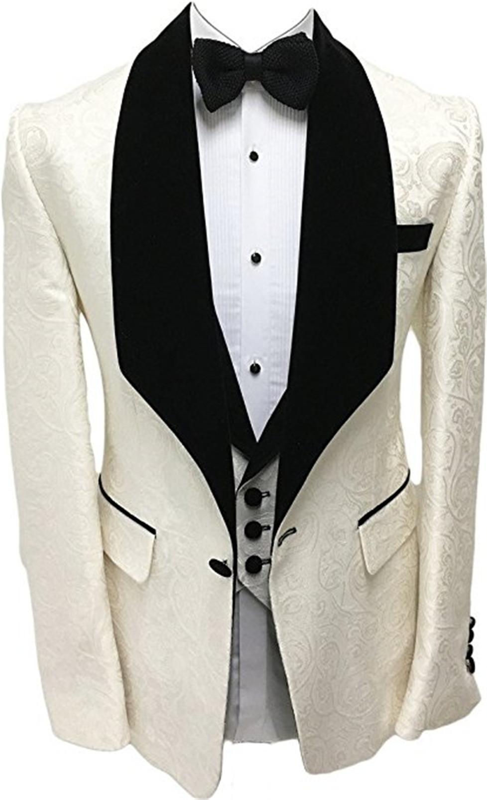 Brand New Groomsmen scialle nero risvolto smoking dello sposo One Button abiti da uomo da sposa / Prom / Cena Best Man Blazer (Jacket + Pants + Tie + Vest) K58