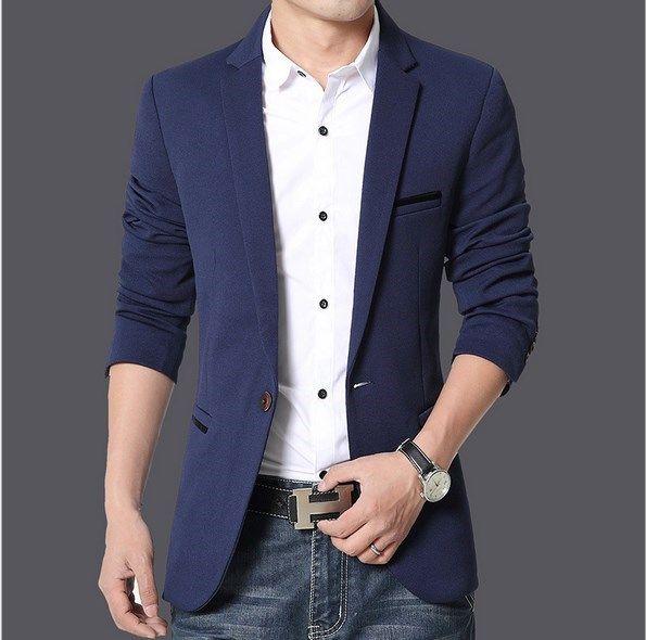 Mens coreano Slim Fit Moda Cotton Blazer paletó preto azul Khaki Plus Size 4XL 5XL masculino Wedding Dress Blazers Coats