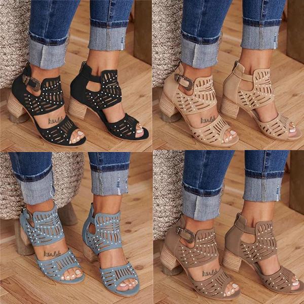2020 новые женские кожаные сандалии дизайнер резные выдолбленные толстые высокие каблуки черный западный стиль рыбий рот обувь US4-12 с коробкой