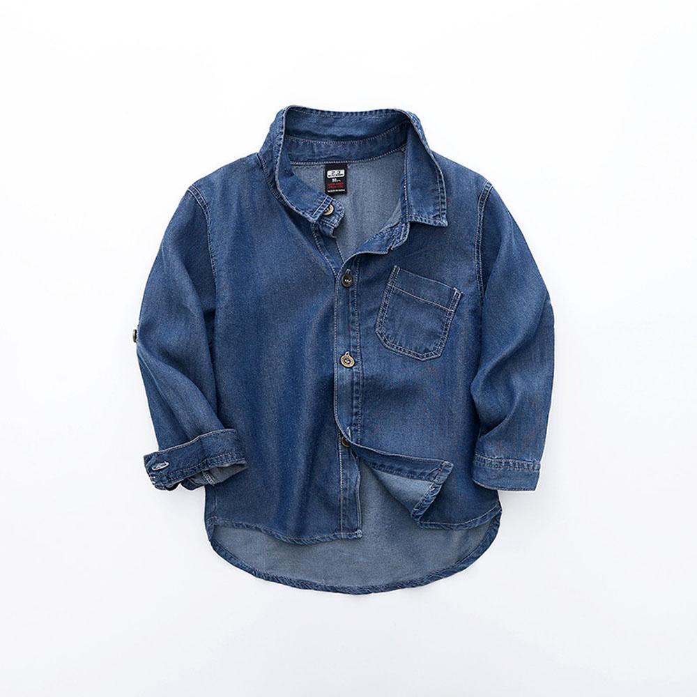 Baby Boy Cotton Shirt Kid с длинным рукавом джинсы рубашка весна детская одежда Джинсовая рубашка мальчика Повседневный Блуза