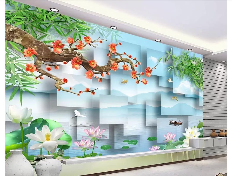 3D обои пользовательские фото фреска обои сливы цветение пейзаж трехмерный пейзаж живопись 3D телевизор фон стены