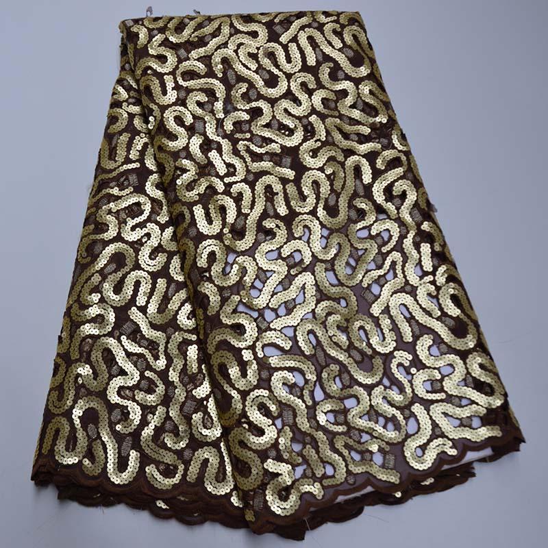 2020 Lace Organza africano tessuto paillettes pizzo Embdroidery alta qualità nigeriano francese tessuto di maglia per il partito Abito da sposa