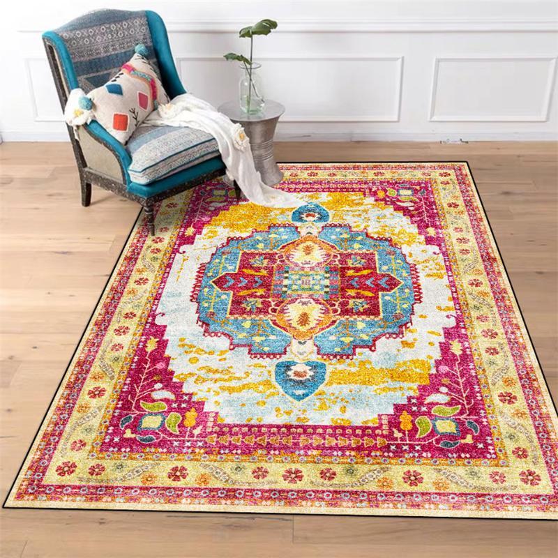 Rose Rot Gelb Blau Geometrische gedruckte Weinlese-Teppich Ethnic persischer Art Teppich für Schlafzimmer Badezimmer Teppich Fußmatte Waschbar