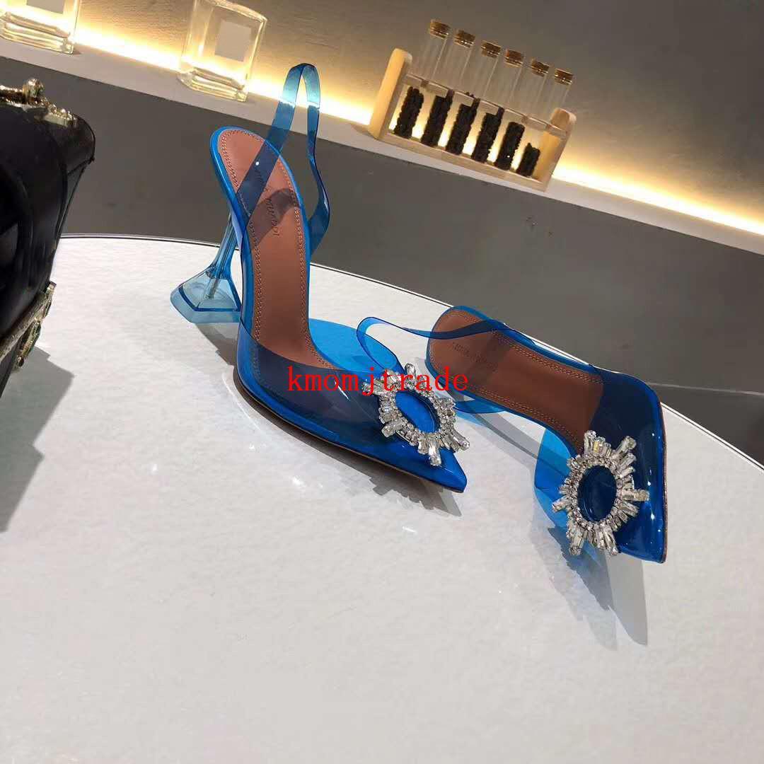 Begum Pvc slingback Kristal-süslenmiş Amina Ayakkabı Muaddi restocks Begum Pvc arkası açık iskarpin 10cm Topuk Amina Muaddi Ayakkabı Orjinal Kutusu pompaları