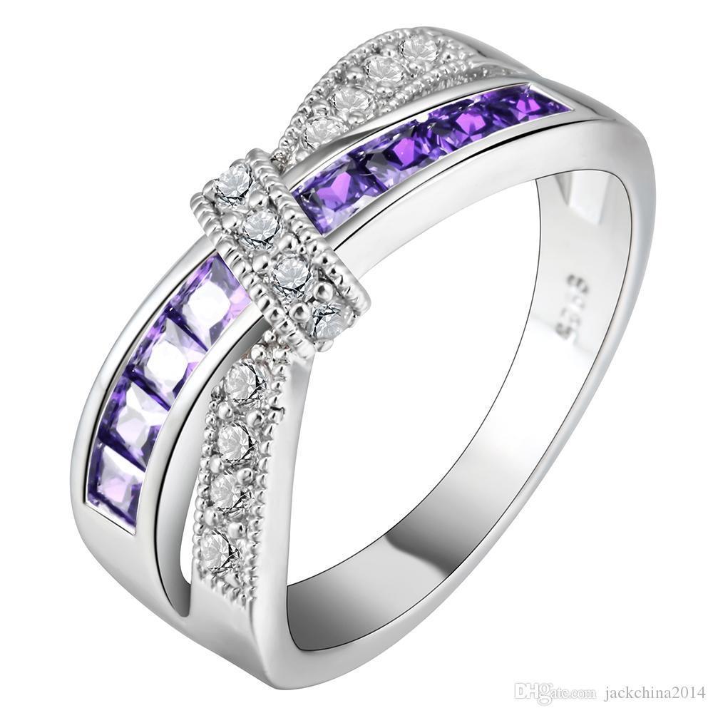 Victoria Wieck Nouveau Femmes Mode Bijoux 10KT or blanc rempli multi-pierres Princesse Cut CZ diamant filles anneau de mariage Ceinture pour les amateurs