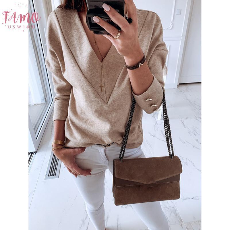 Les femmes T-shirt solides manches longues col en V blanc T-shirt femme Femme Harajuku femme Tops automne vêtements coréens 2019 Sj4781v