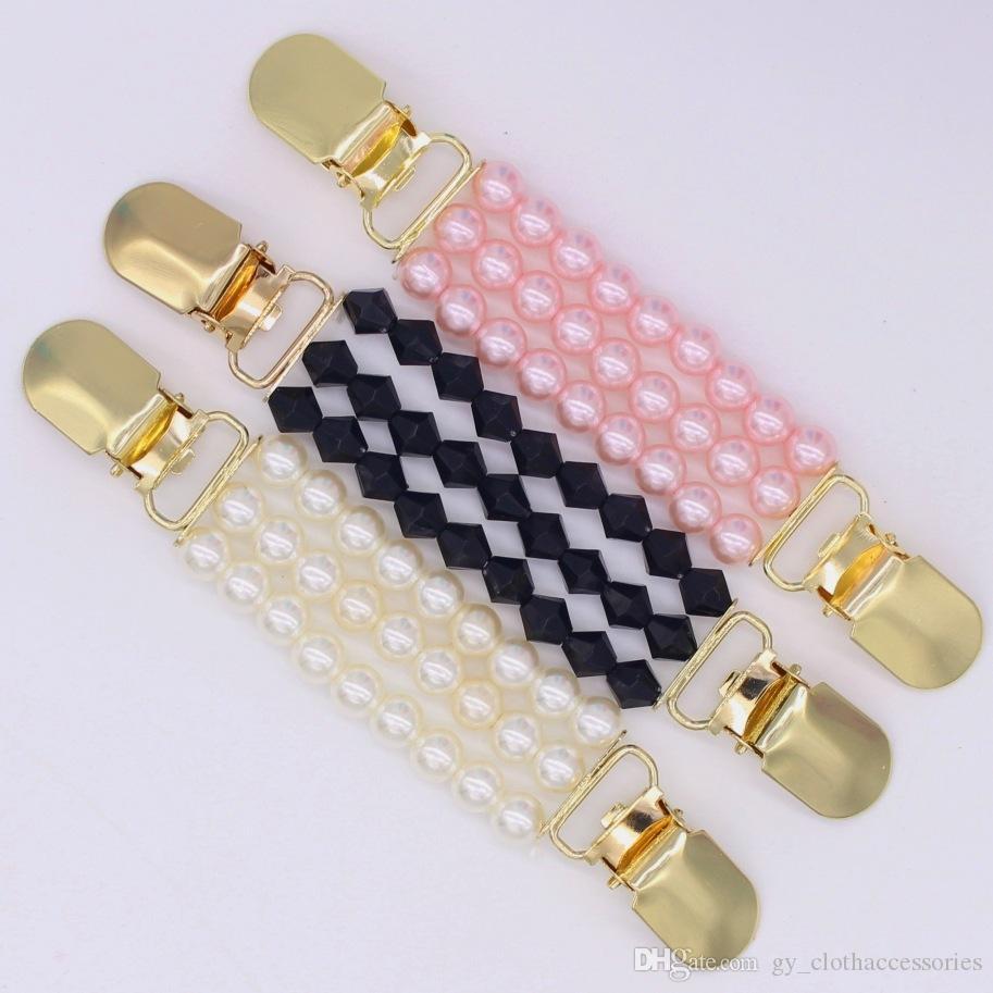 Rhinestone-Perlen Dekorative Buttons Ente Clips Schal Bluse Bead Buckles Flexible Sweater Cardigan Kragen Kleidung Dekor
