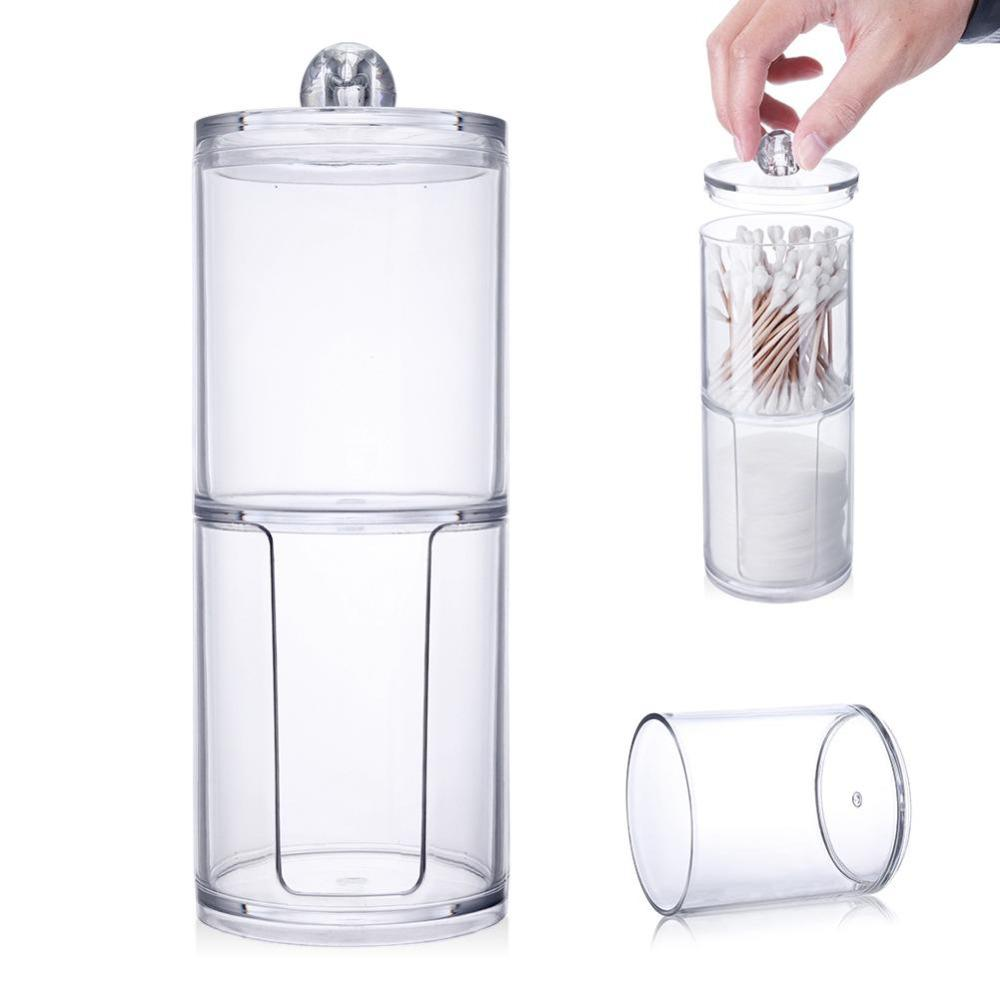 Creative Clear Acrylic Storage Jar Holder Transparent Cotton Swabs Stick Cosmetic Makeup Cotton Pad Jar Makeup Organizer Case