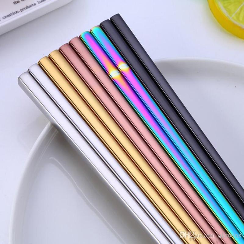 نقية اللون عيدان الفولاذ المقاوم للصدأ عيدان بسيط نمط كاندي اللون أدوات المائدة فندق المائدة 5 ألوان WY418Q