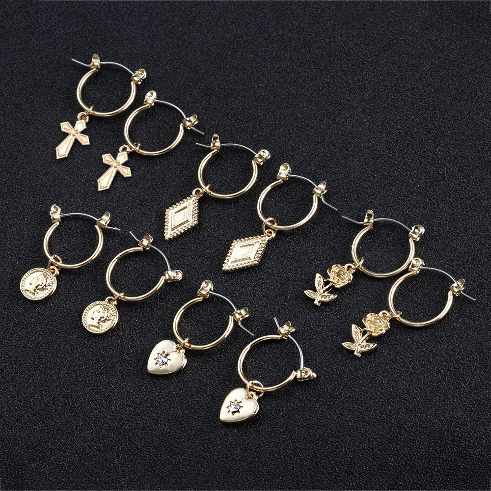 New SOHOT Hot Sale Ethnic Style Chic Hoop Earrings Exquisited Female New Flowers Heart Cross Shape Gold Silver Color Women Gift