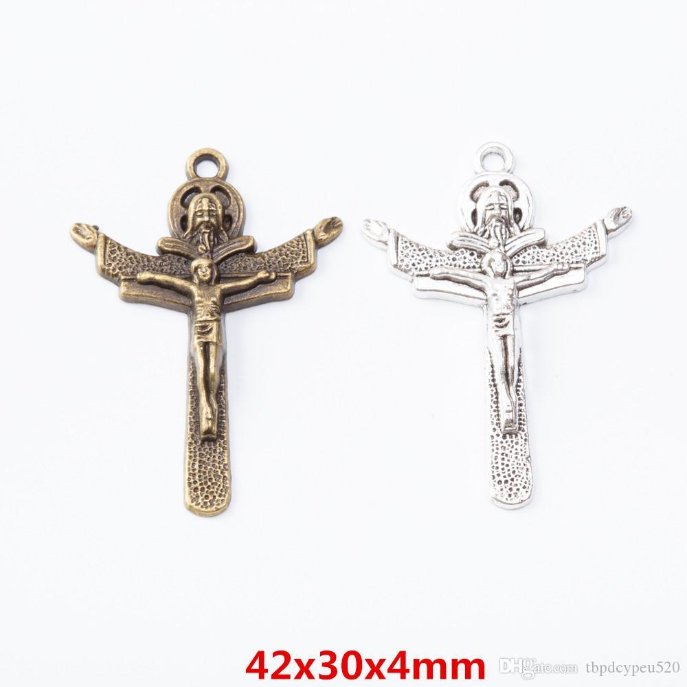 gros métal vintage charmes en alliage de zinc Jésus pendentif croix pour les résultats de bijoux diy 7192