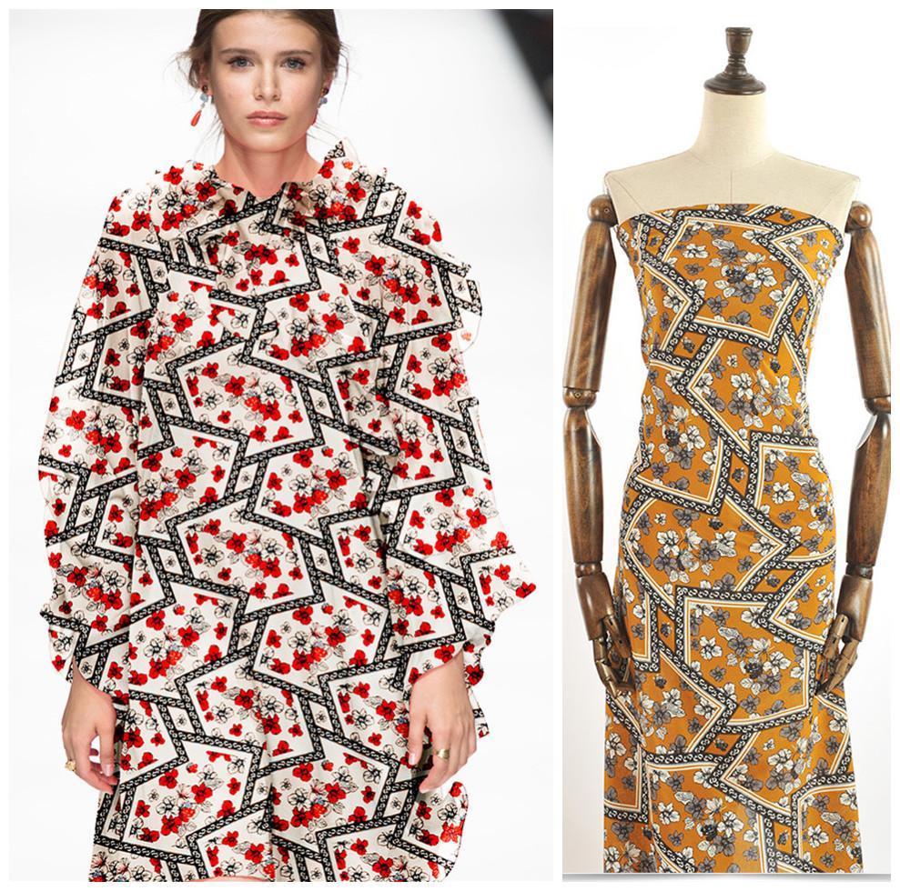 140 см широкий цветок печатных шелковая ткань метр против морщин Шелковый крепдешин ткань 16 мм рубашка платье Оптовая ткань