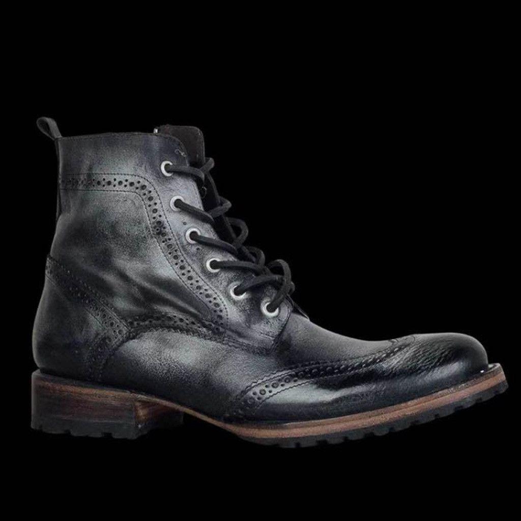 Zapatos para hombre del otoño de la vendimia al aire libre del cuero con cordones de calzado ocasional de alta calidad Pisos Ronda del dedo del pie Botines de tacón bajo