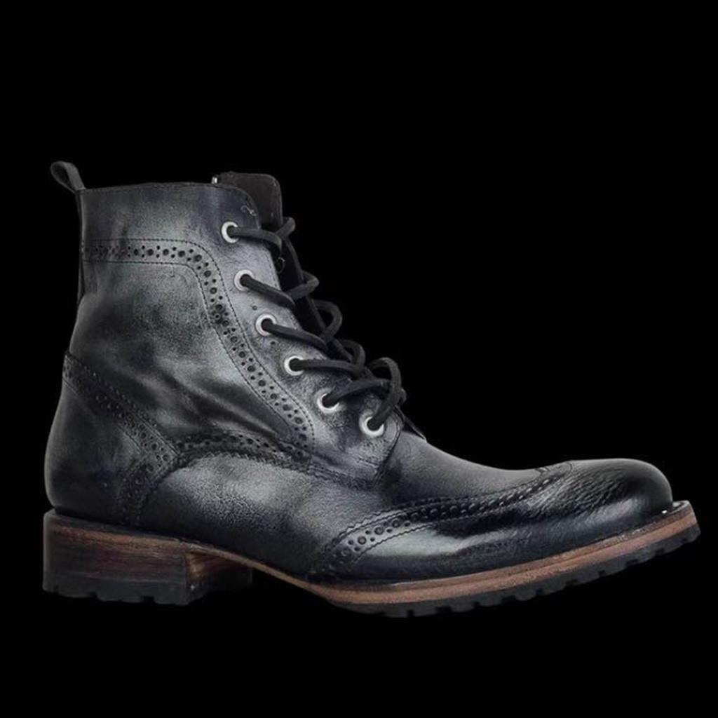 outono Vintage Shoes Mens Outdoor Couro Lace-Up Calçado Casual Casual alta qualidade Flats Rodada Toe Ankle Boots de salto baixo
