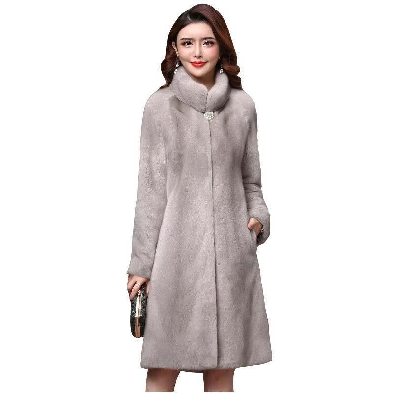 Winter-signore di alta qualità cappotto reale nuovo manicotto pieno spessore caldi cappotti di pelliccia naturale lungo genuino più il formato 3XL soprabito