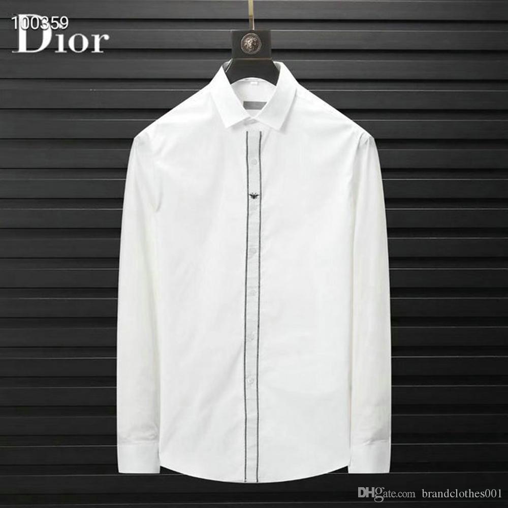 Para hombre de la marca de diseño de manga larga camisas de vestir firmate camisas de la manera ocasional de la camisa de lujo camisa de la impresión Homme Botón encima de las tapas 046