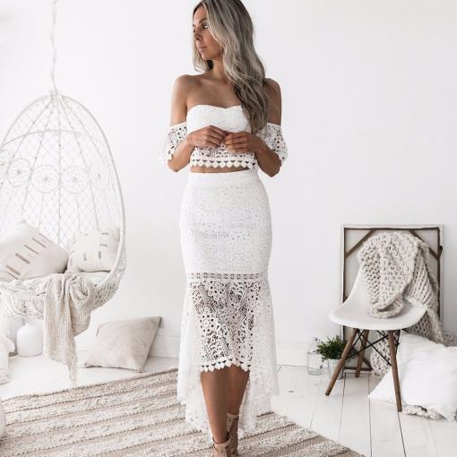 Duas peças de cor sólida tubo rendas halter top envoltório vestidos longos 2019 verão costura sexy elegante roupa das mulheres da sereia Drees