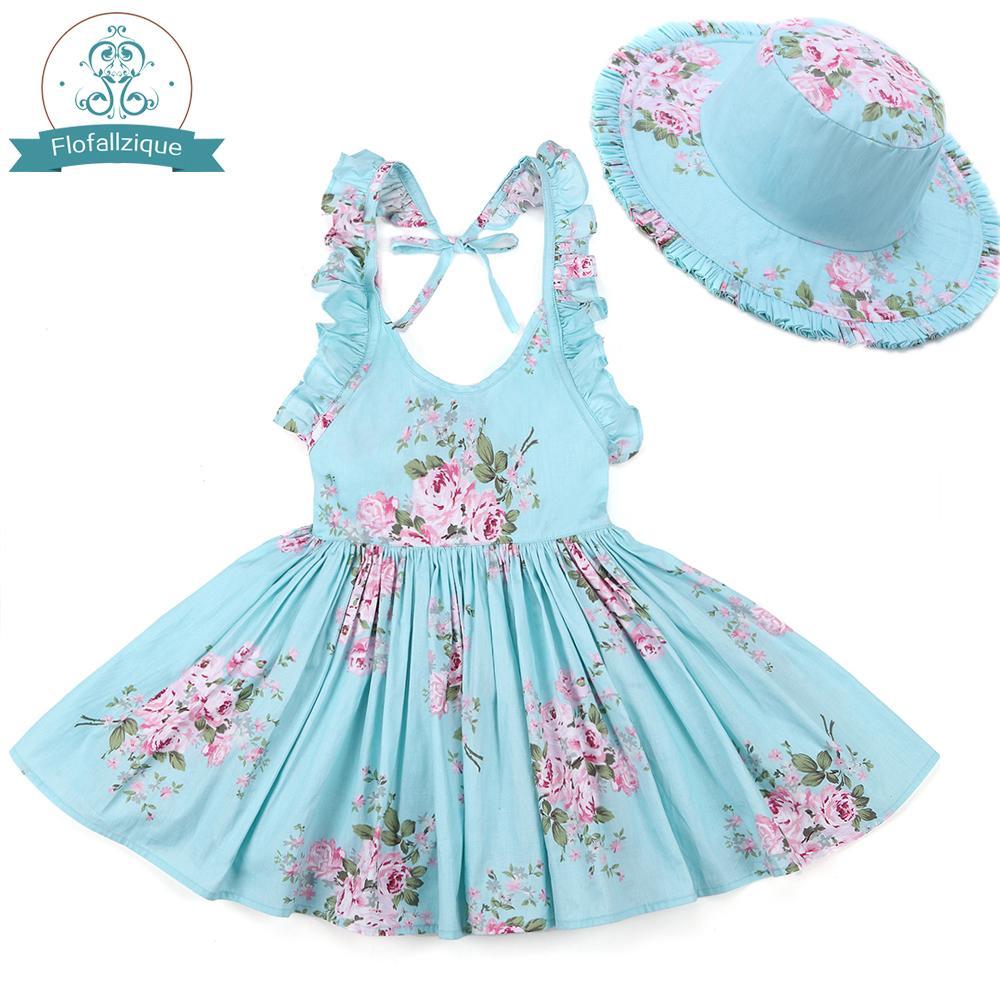 아기 소녀 드레스 모자 2018 브랜드 유아 소녀 여름 옷 키즈 비치 꽃 인쇄 프릴 공주 파티 드레스 1-8y MX190725