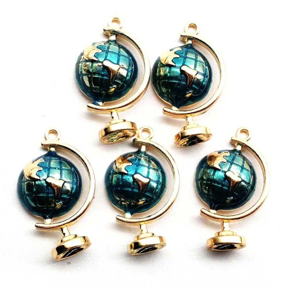 5 piezas 28x17x6 mm azul tallado tibetano globo de oro colgante de bolas
