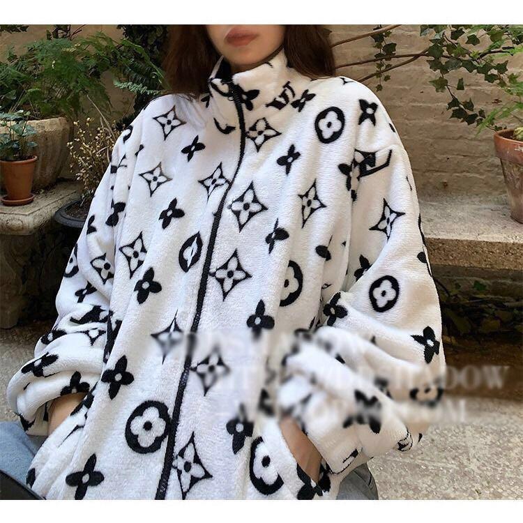 Coral Fleece einfacher Weg zur Arbeit, Körper gedruckt Männer und Frauen der warmen Mantel, portofrei