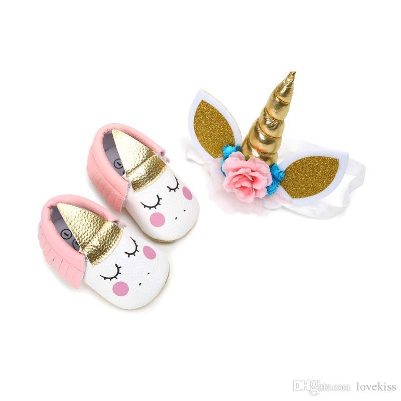 يونيكورن أول مشوا طفلة أحذية الوليد + يونيكورن الشعر الفرقة 2 قطع الأخفاف لينة الرضع ووكر الأحذية A2388