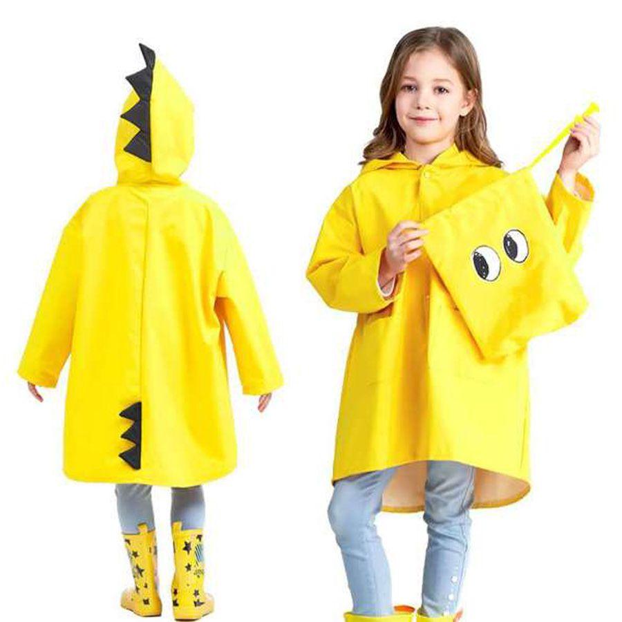 Chicos portátiles para niños a prueba de viento Poncho impermeable para niños Poncho lindo en forma de dinosaurio Niños con capucha Impermeable amarillo rojo DH0752 T03