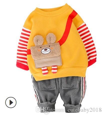 New Style Roupas de bebê das meninas do menino Define Crianças Crianças roupa do inverno Terno da criança Urso Chefe Top e calças Casual Suit 2 Piece