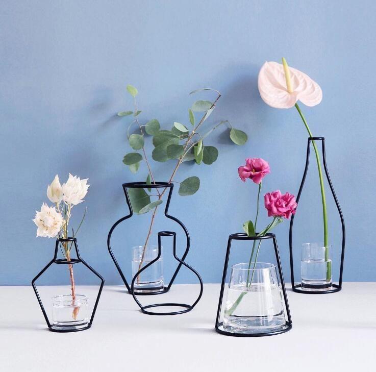 Creative DIY Vase Party Home Décoration Black Plant Pot Titulaire Stand En Fil De Fer Vases À Fleur Livraison Gratuite