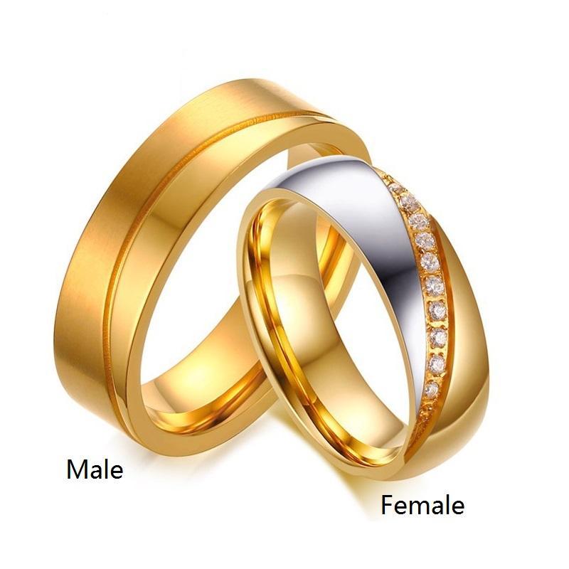 New CZ casal anéis de cristal para o ouro amante 18K anéis de casamento de noivado de aço inoxidável para mulheres dos homens jóias de vestido de festa