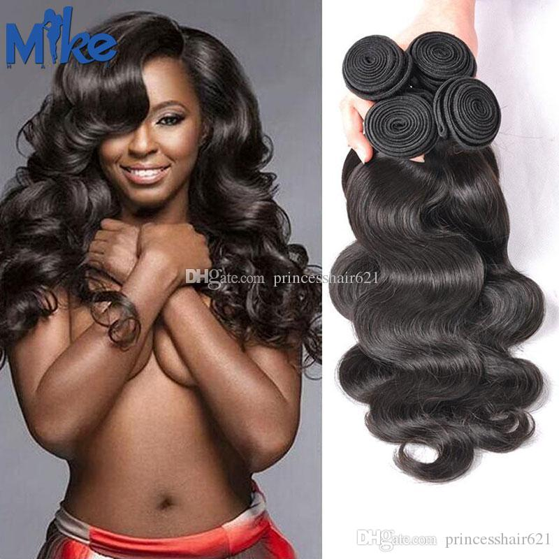 MikeHAIR Peruvian Malaysian Indian Brazilian Hair 4 Bundles Unprocessed Body Wave Human Hair Weaves Double Wefted Wavy Hair Extensions