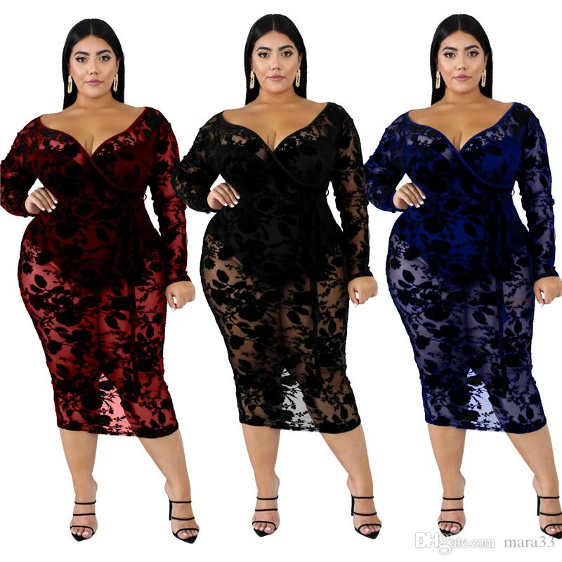 Women deep-v neck midi dresses XL-6XL plus size sexy & club lace elegant fall summer clothing sheath column holiday party evening dress 2547