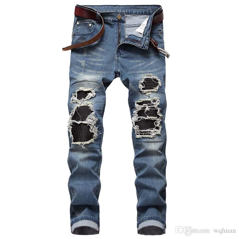 New Men Casual jeans Hiphop Draped Zipper jeans denim Patchwork Knees Holes pants Tassel Scratched Washed high quality Free Shipping