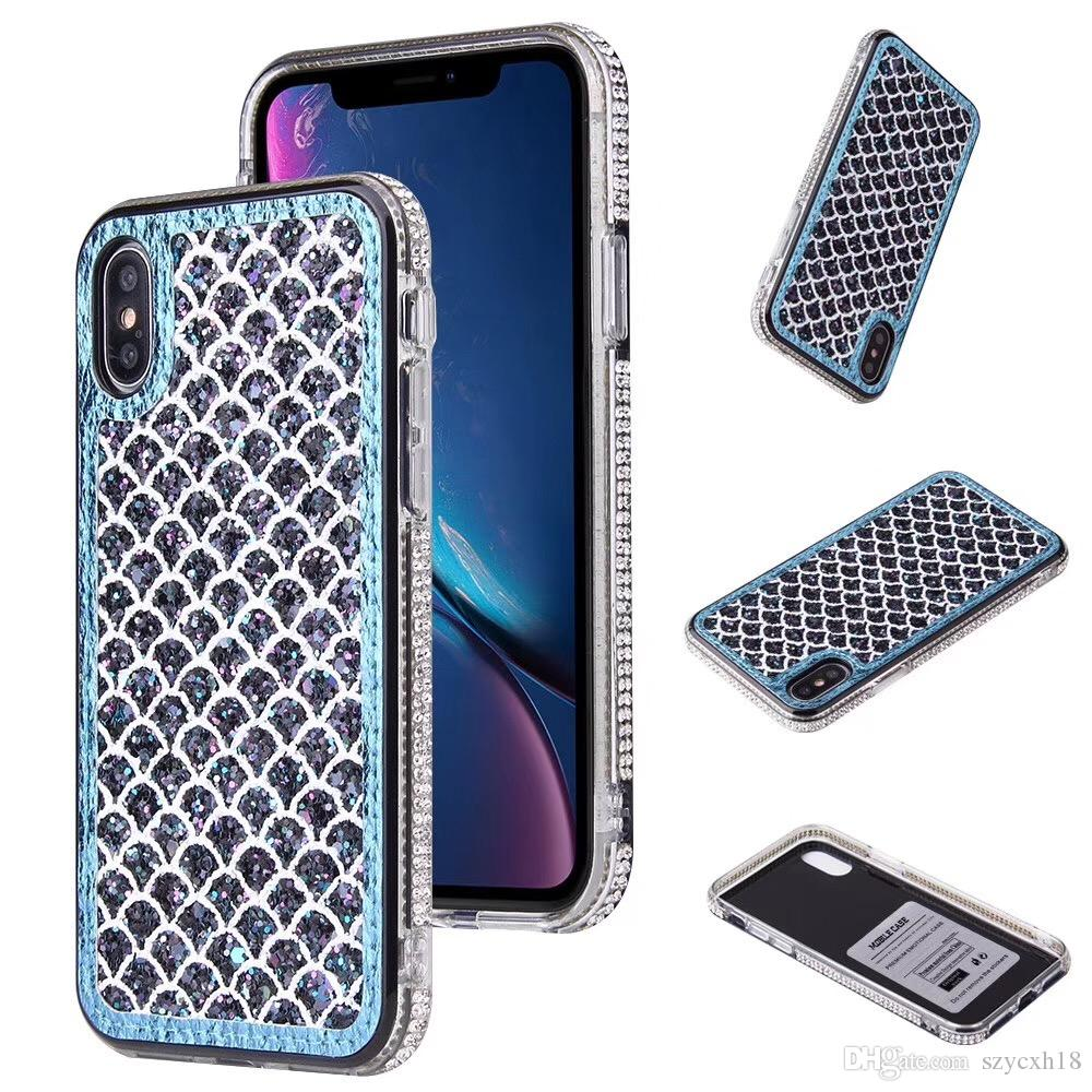 Luxury Phone Cases for iPhone 11 pro Fish scale Side drill Crystal Bling Cover for iphone XR XS 7 8 plus Note10 Hua Wei P30 pro back cover