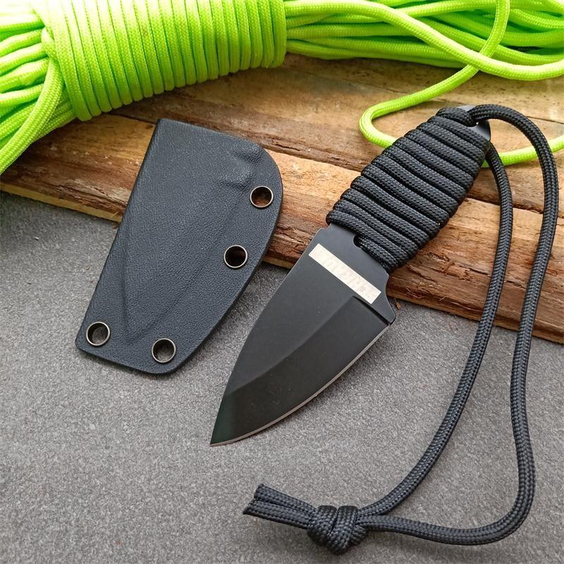 Fabrika Fiyatı Açık Fxied Bıçak Dalış Bıçağı 8Cr13Mov Siyah Bıçak Tam Tang Parcord Kol kolye Bıçaklar ile Kydex
