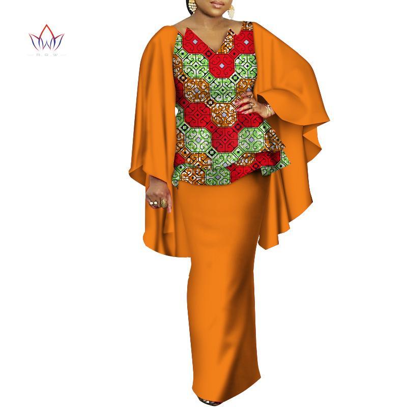 Roupas étnicas Vestidos Africanos para Mulheres Bazin Riche Roupas 2 Peças Conjuntos Dashiki Imprimir Ruffle Manga Top e Saia WY3498