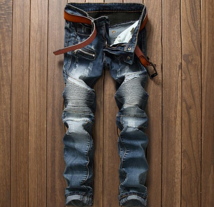 European American Style Herren Jeans dünne Jeanshose Gerade berühmte Marke Herren blau Patchwork Designer Reißverschluss Jeans Hosen