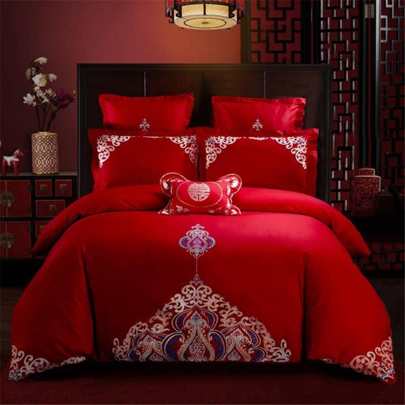 Наилучшие пожелания красного комплекта постельных принадлежностей для свадебного подарка для женщин пододеяльника Набора с наволочкой Настраиваемой постельных принадлежностями Supplies