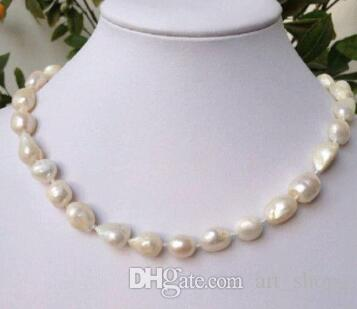 Free ShippingHot sale new Style >>>>>NEW 9-10 mm baroque white freshwater pearl necklace