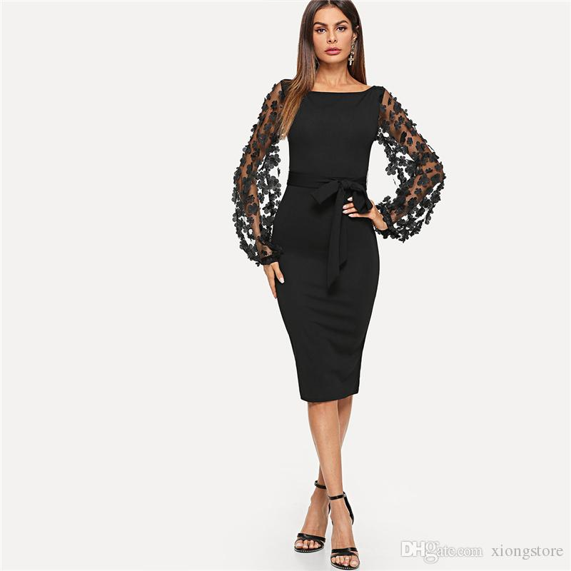 A Line 2019 Black Party Elegant Flower Applique Contrast Mesh Long Sleeve Bodycon Belted Solid Autumn Mermaid Women Streetwear Dresses