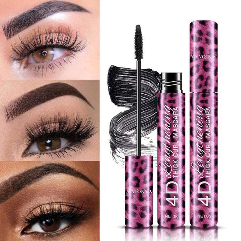 Profesional 2 en 1 maquillaje de ojos forro Conjunto del ojo con el leopardo Negro líquido impermeable Delineador de ojos Curling herramienta O3J2