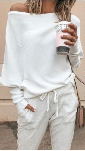 Off плеча Batwing рукава Женщины Футболки ребристые трикотажные пуловер Свободные футболки Топы 2019 осень Женский Трикотаж