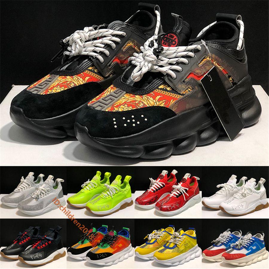 Italiano Croce Chainer 2 formatori per donne degli uomini delle scarpe da tennis 2020 Catene Designer Bianco Rosso Stampa fondo spesso all'aperto Casual Shoes Size 36-45