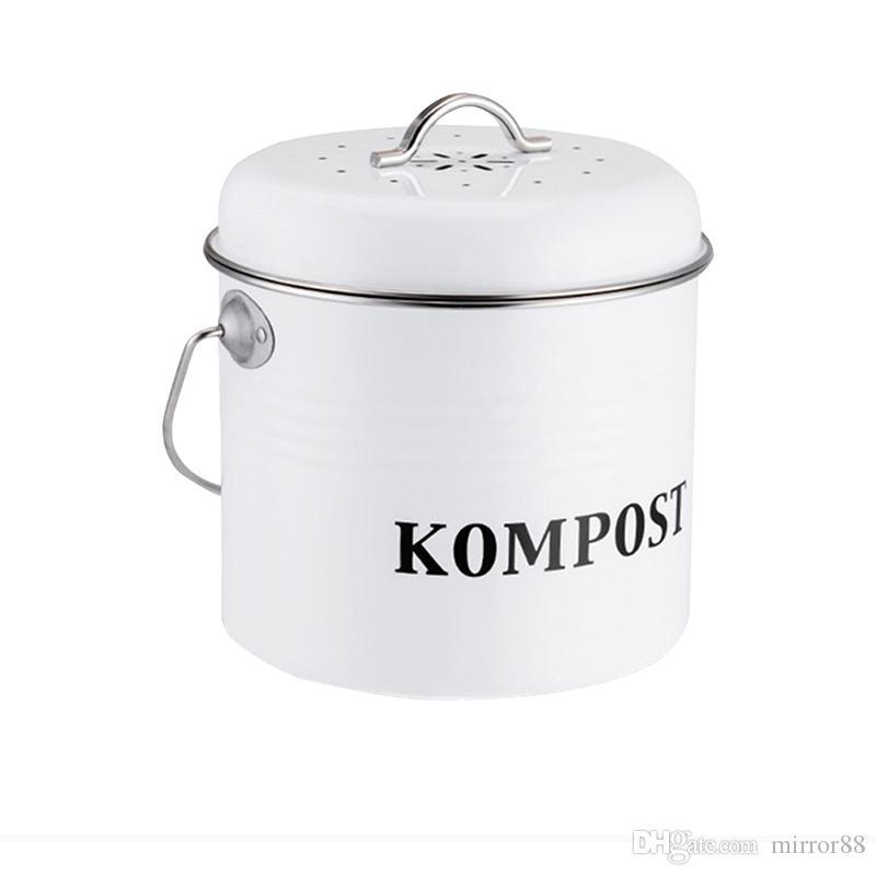 주방 퇴비 빈 유기 수제 쓰레기 수 멜론 잎 야외 수조 아이언 라운드 숯 필터 버킷