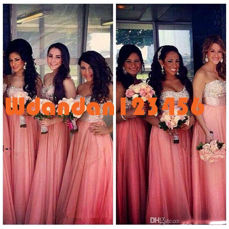 Top 2020 Sweetheart One Shoulder A Line Bridesmaid Dresses Sparkly Coral Long Crystal Beaded Draped Chiffon Bridesmaids Wedding Party Dress