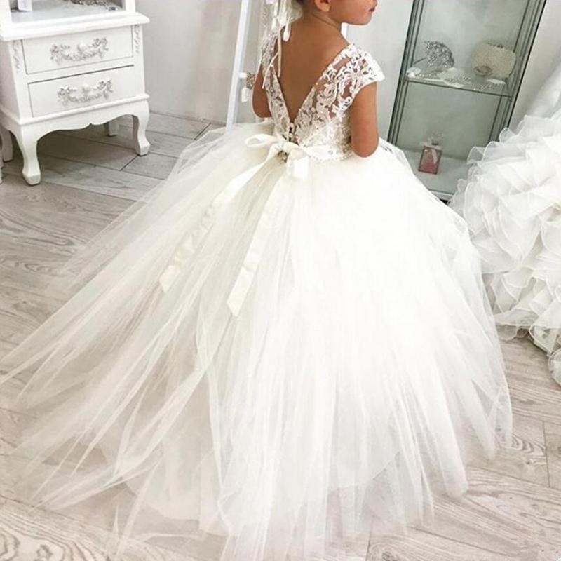 Princesa de encaje balón vestido de encaje de flores niña vestido de las muchachas del desfile de los vestidos vestidos de primera comunión para la boda falda del tutú