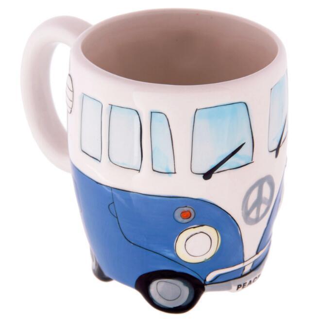 400ml Creative Hand Painting Double Bus Cartoon Mugs Retro Ceramic Cup Coffee Milk Tea Mug Drinkware Novetly Gifts
