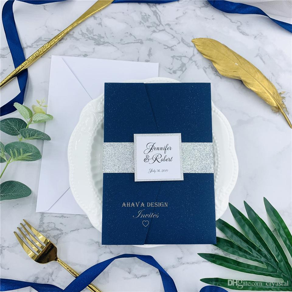 Elegant Navy Laser Cut Invite With Belly Band And Rsvp Card For Wedding Quince Sweet Sixteen Diy Invitation Kit Hawaiian Wedding Invitations High